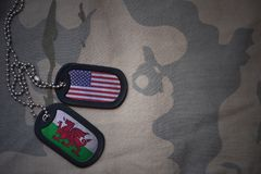 Army blank, dog tag with flag of united states of america and wales on the khaki texture background. Royalty Free Stock Photos