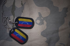 Army blank, dog tag with flag of venezuela on the khaki texture background. Stock Image