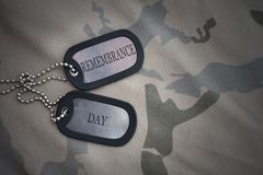 Army blank, dog tag with text remembrance day on the khaki texture background. Military concept stock photography