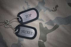 Army blank, dog tag with text top secret on the khaki texture background. Stock Photo