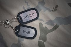 Army blank, dog tag with text world war on the khaki texture background. Stock Images
