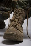 Army boots. Desert combat with laces done up Stock Photography