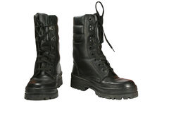 Army boots. Pair of army boots of black colour  on a white background Royalty Free Stock Photos