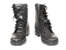 Army boots. Black army boots on white background Royalty Free Stock Photos