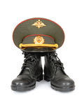 Army boots and cap. On white background Stock Photography