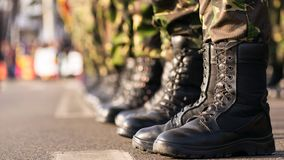 Army boots close up stock photos