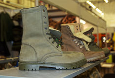 Army boots on the counter Royalty Free Stock Images