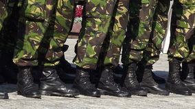 Army boots in line at a parade stock video