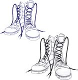 Army boots. Pencil drawing of boots on a white background Royalty Free Stock Images
