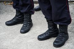 Army boots of the Russian police in November 2018 royalty free stock photos