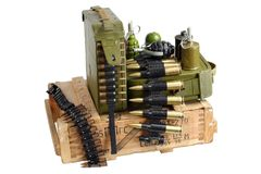 Army box of ammunition with ammo belt and hand grenades. Isolated Royalty Free Stock Images