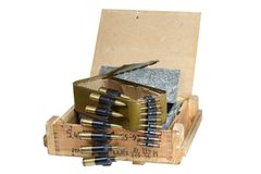 Army box with ammunition belt Royalty Free Stock Photo