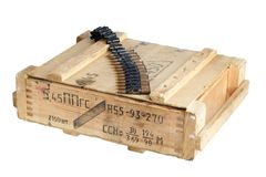 Army box with ammunition belt Stock Photography