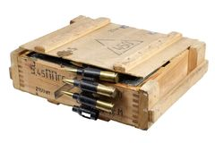 Army box with ammunition belt Stock Photo