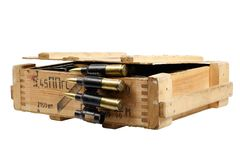Army box with ammunition belt Royalty Free Stock Photos