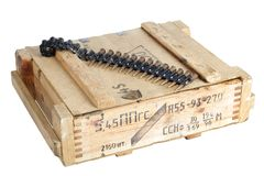 Army box with ammunition belt Royalty Free Stock Image