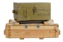 Army box of ammunition. Isolated Royalty Free Stock Photos