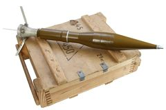 Army box of ammunition with rocket-propelled grenade Stock Photos