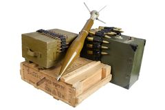 Army box of ammunition with rocket-propelled grenade Stock Photography