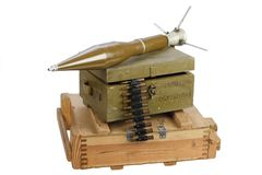 Army box of ammunition with rocket-propelled grenade Stock Images