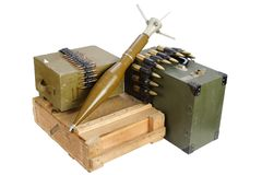Army box of ammunition with rocket-propelled grenade. Isolated Stock Photography