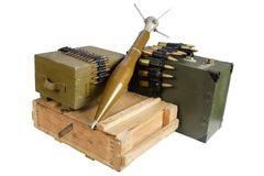 Army box of ammunition with rocket-propelled grenade. Isolated Royalty Free Stock Images