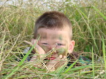Army boy camoflauged Stock Photo