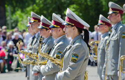 Army brass band , saxophone, performer, musician. Victory Day, May 9 Military brass band Royalty Free Stock Photo