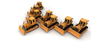 Army of bulldozers Stock Images