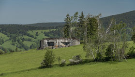 Army bunker near Stare Mesto town. In spring sunny day Royalty Free Stock Photos