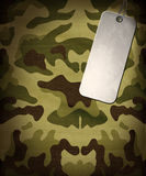 Army camo background. With a dog tag Stock Photo