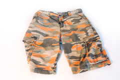 Army camouflage shorts. Isolated on white Stock Photos