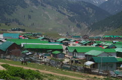 Army camps in Pahalgam-2. An army camps situated in village in Kashmir amidst the mountains Stock Photography