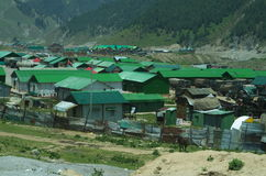 Army camps in Pahalgam-3. An army camps situated in village in Kashmir amidst the mountains Royalty Free Stock Image
