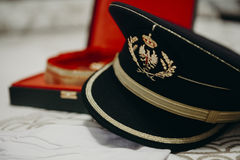 Spanish army cap close up detail Stock Images