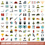 100 army center icons set, flat style. 100 army center icons set in flat style for any design vector illustration Stock Images