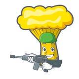 Army chanterelle mushroom character cartoon. Vector illustration Royalty Free Stock Image