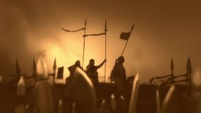 Army of Christian Warriors Preparing for Battle stock footage