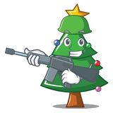 Army Christmas tree character cartoon. Vector illustration Stock Images