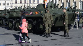 Army in the city. Military equipment in Saint-Peterburg Stock Photo