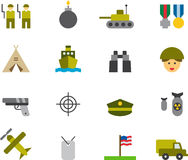 ARMY colored flat icons Royalty Free Stock Photos