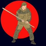 Army commando with staff. Man practicing martial arts with a pol. E. Vector realistic Illustration vector illustration