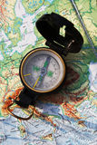 Army compass and the map Stock Photos