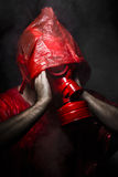 Army concept, man with red gas mask. Stock Photo