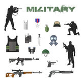 Army concept of military equipment flat. Icons background design Stock Photos