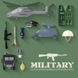 Army concept of military equipment flat icons Stock Image