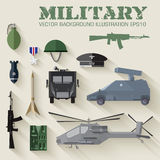 Army concept of military equipment flat icons Royalty Free Stock Image