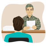 Army conscript during interview on the results of the tests, a collection point. Army conscript during an interview on the results of the tests, a collection Royalty Free Stock Images