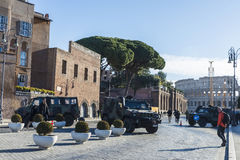 Army control in the historical center of Rome, Italy Royalty Free Stock Image