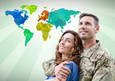Army couple in front of Colorful Map stock photos